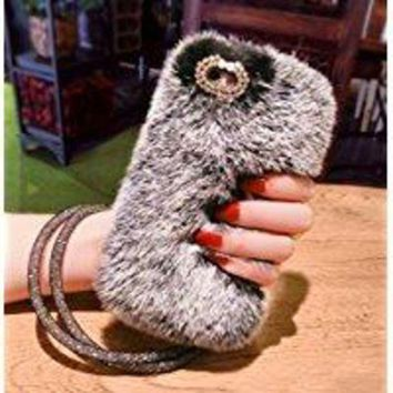 CREYDC0 Losin iPhone X / iPhone 10 Case Fashion Luxury Diamond Bowknot Cute Fuzzy Furry Winter Rabbit Hair Warm Plush Fluffy Fur Soft TPU Back case