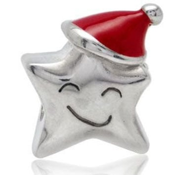 Silver Plated Bead Charm Cute Christmas Gift Smile Star Bead Charm Fit Original Pandora Bracelet & Bangle DIY Jewelry