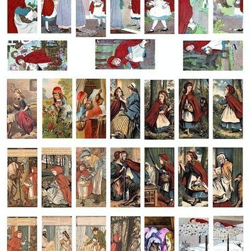 grimms fairy tales little red riding hood vintage clip art digital download collage 1 BY 2 inch dominos