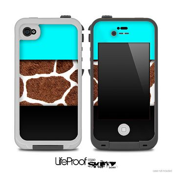 Three-Toned Turquoise Giraffe Skin for the iPhone 5 or 4/4s LifeProof Case