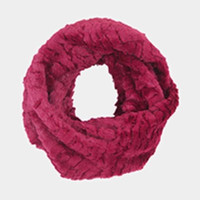 Burugndy Solid Faux Fur Infinity Scarf