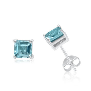 14K White Gold Blue Topaz CZ Princess VS1 Stud Earrings