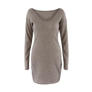 Winter Women Sweater Dress Elegant Chic Long Sleeve Knit Deep V-neck Sexy Party Bodycon Sweater Dresses