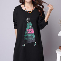 Black Woman Print Long Sleeve Midi Dress