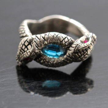 Victorian Swiss Blue Topaz and Rubies Double Snake Ring in sterling silver