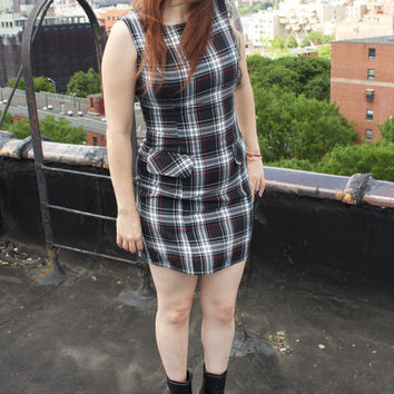 90s Punk Cute Schoolgirl Plaid Grunge Mini Dress