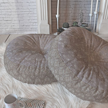 Aimee St Hill Farah Blooms Neutral Floor Pillow Round