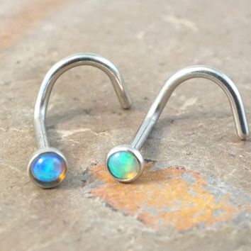 Blue Opal and Green Fire Opal Corkscrew Nose Piercing Ring Stud