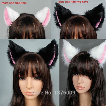 PLUS SIZE Japan Anime Spice and Wolf Holo Cosplay Fox Ear Halloween Cat Meow Plush Ear Headband Hair Band Props Gift