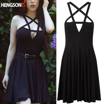 HENGSONG Summer Fashion Women Dress Gothic Vintage Romantic Casual Dress Without Belt Sexy black dress NQ816758