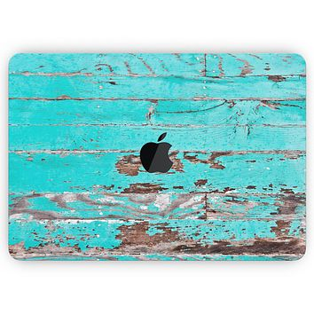"Turquoise Chipped Paint on Wood - Skin Decal Wrap Kit Compatible with the Apple MacBook Pro, Pro with Touch Bar or Air (11"", 12"", 13"", 15"" & 16"" - All Versions Available)"