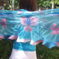 Summer nunofelted  bluepink shawlButterfly hand by LanaDiNata
