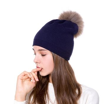 Lady Genuine Ratterer Ball Head Cap women  warm Wool hats Cashmere Knit girls solid color beanies winter wear accessories