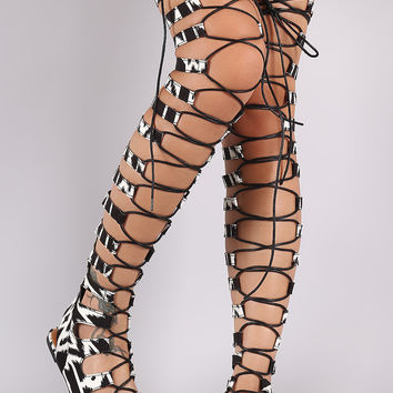 Strappy Tribal Lace-Up Thigh High Gladiator Flat Sandal