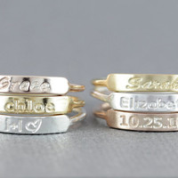 Personalized stackable stacking rings, sterling silver stacking rings, band ring, name ring