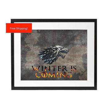 Game of Thrones House Stark Winter is Coming Westeros Map HBO White Winterfell The Wall Poster