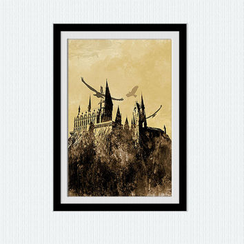 Hogwarts castle watercolor print Harry Potter colorful poster Home decoration gift Kids room art Wall hanging illustration Nursery room W172