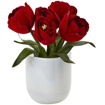Silk Flowers -Red Tulips With White Glass Vase Artificial Plant