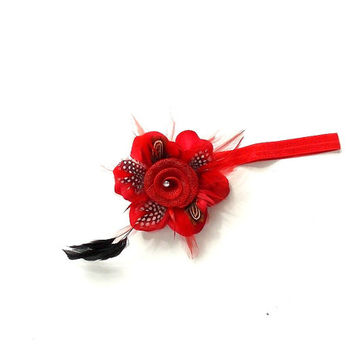 Red  Headband, red stretch with a clip on red flower with black feathers , girl's, women's,