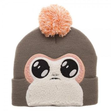 MPB Porg Faux Fur Applique Big Face Beanie