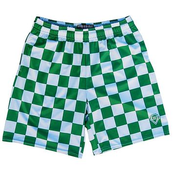 Kelly and White Checkerboard Lacrosse Shorts