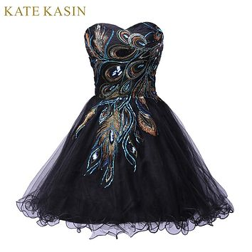 Sexy Tulle Ball Gown Embroidery Peacock Cocktail Dress Black White Party Gown Short Cocktail Dresses Prom Dress 2018 C4975