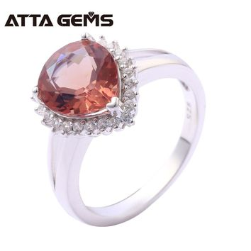 Zultanite Siver Rings for Women Wedding Anniversary Silver Jewelrys 3.1 Carats Created Diaspore Color Change Stone Fine Jewelry