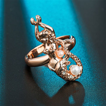 Hot Selling Trendy Rose Gold Plated Mermaid Pearl Ring