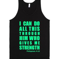 Mint Inspirational Philippians 4:13 (with a white underbase)-Tank