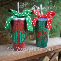 Red OR Green Glitter Monogram Christmas Tumbler Cup
