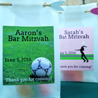 Soccer Mitzvah Personalized Bar/Bat Mitzvah Favor Bags for Birthdays, Parties, Bar Mitzvahs and party favors