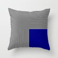 Geometric abstraction: black and white stripes, blue square Throw Pillow by aapshop