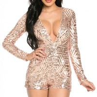 Long Sleeve Plunging Neck Sequin Romper in Rose Gold