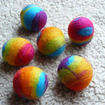 Felted Rainbow Rattle Ball Set Of Two / Cat Toy With Rattle Inside