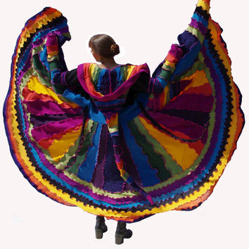 Elf Coat, Upcycled, Recycled, Sweater Coat, Long, Rainbow