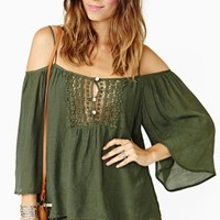 Open Road Crochet Top - Olive