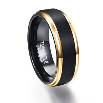 Fashion Jewelry Mens 8mm Black Carbon Fiber Rings High Quality Frosted Gold Color Tungsten Ring For Men Wedding Accessories