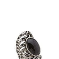 FOREVER 21 Cutout Faux Stone Ring Silver/Black