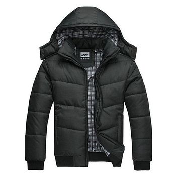 winter jacket men quilted black puffer coat warm fashion male overcoat parka outwear polyester padded hooded  Winter coat
