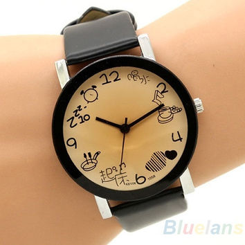 Women Round Dial Faux Leather Band Quartz Hours Clock Wrist Watch = 1932943940