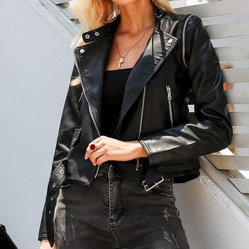Biker Babe Faux Leather Detachable Long Sleeve Asymmetric Zipper Mock Neck Moto Jacket Vest Outerwear - 2 Colors Available