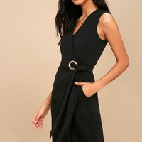 Office Aesthetic Black Midi Wrap Dress
