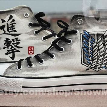 CREYON attack on titan anime custom converse attack on titan hand painted shoes survey legi