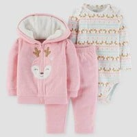 Baby Girls' 3pc Deer Hooded Fair Isle Set - Just One You™ Made by Carter's® Pink