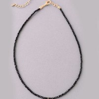 Black Beaded Choker Necklace with CZ Elephant