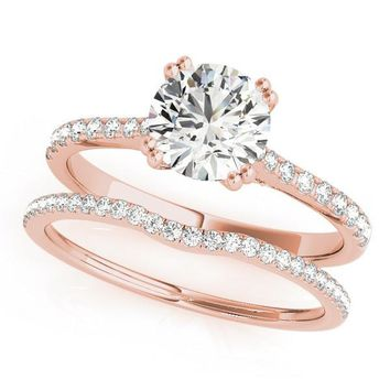 Amina Thin & Petite Round Moissanite Diamond Side Bridge Cathedral Engagement Ring