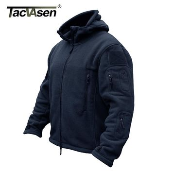 TACVASEN 3XL Winter Military Fleece Jacket Warm Men Tactical Jacket Navy Thermal Hooded Jacket Coat Outerwear Clothes Plus Size