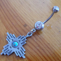 Belly button ring- Native American symbol four directions