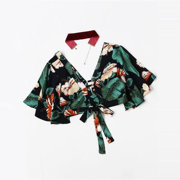 Plunging V-neckline Tropical Print Knot Crop Top