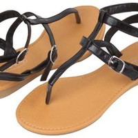 Shoes 18 Womens Roman Gladiator Sandals Flats Thongs 2 Buckle Shoes 4 colors